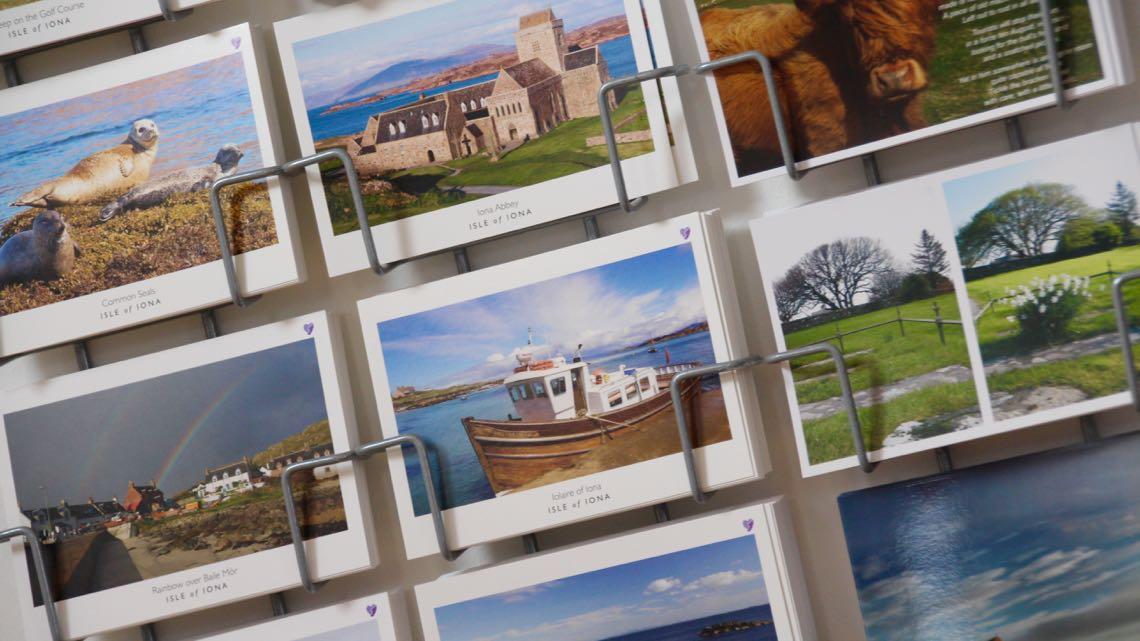 Postcards by Anja Jardine, Gordon Bruce and Joyce Watson.