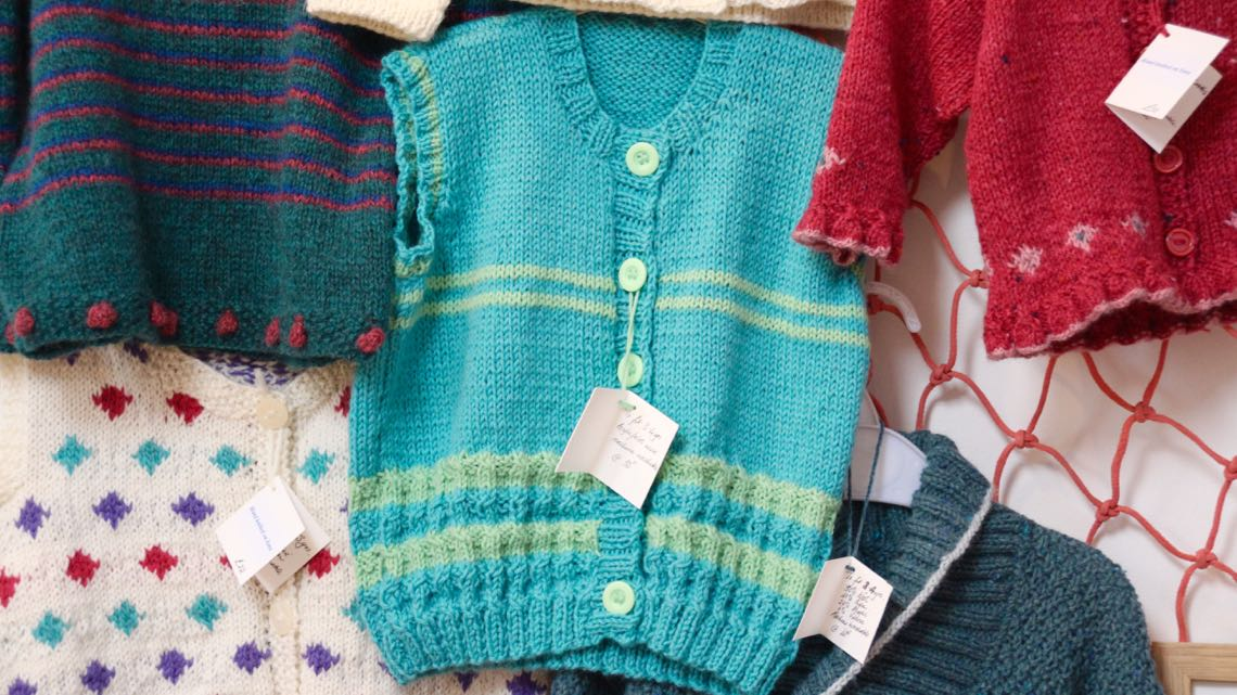 Hand knitted items by Katie MacDonald.